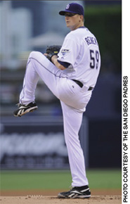 Chad Reineke '05 on the mound for the San Diego Padres.