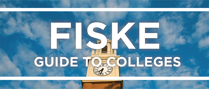White text reads '16 Fiske Guide to Colleges layed over a photo of the blue sky and Pulley Bell Tower