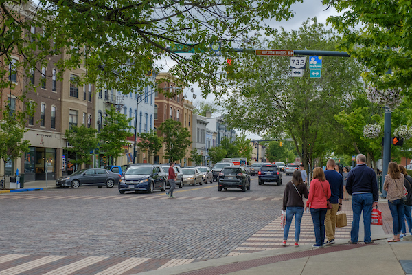 Shoppers enjoy a view of uptown Oxford on a bustling Spring day