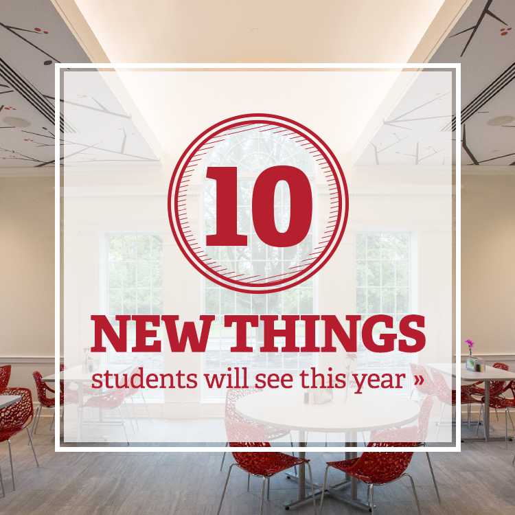 10 New things students will see this year. Photo of a new dining hall with high ceilings and red chairs