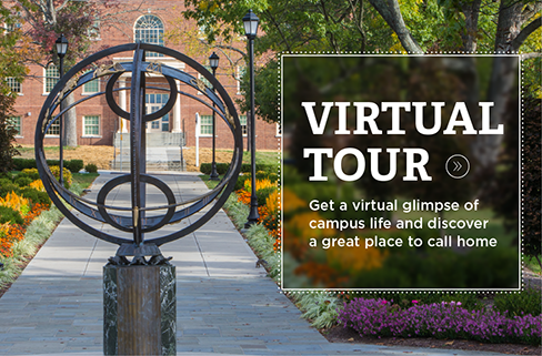 Virtual Tour. Get a virtual glimpse of campus life and discover a great place to call home. » Photo of the sundial in front of a sidewalk bordered with flowers